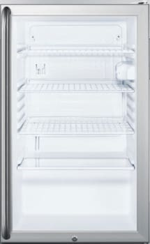 "Summit SCR450LBI7SH - 20"" Commercial Compact Glass Door Refrigerator with Long Towel Bar Handle"