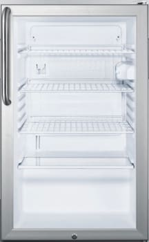 "Summit SCR450LBI7TB - 20"" Commercial Compact Glass Door Refrigerator with Short Towel Bar Handle"