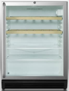 Summit SCR600BLCSSRCADA - Stainless Cabinet with Towel Bar Handle and Wooden Shelves