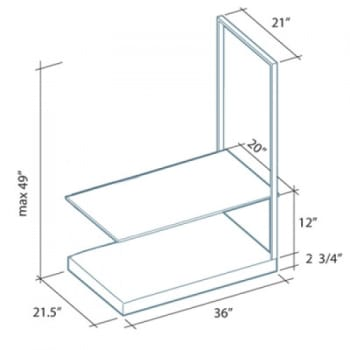 "Futuro Futuro Europe Series GLASSEUROSHELF - 36"" Accessory Shelf"