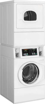 "Speed Queen STEBCASP173TW01 - 27"" Stacked Micro Display Commercial Front Load Washer & Electric Dryer"