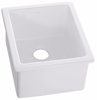 undermount bar sink. Elkay SWU1517WH - White Front View Undermount Bar Sink