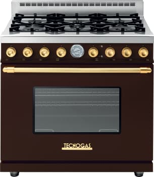 Tecnogas Superiore Deco Series RD361GCMG - Brown Gas Range with Gold Accents