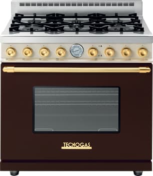 Tecnogas Superiore Deco Series RD361GCMCG - Brown Gas Range with Gold Accents and Cream Control Panel