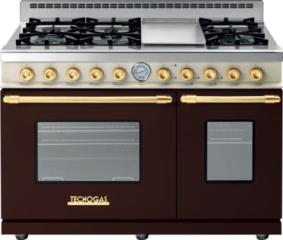 Tecnogas Superiore Deco Series RD482GCMCG - Brown Range with Gold Accents and Cream Control Panel