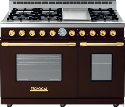 Tecnogas Superiore Deco Series RD482GCMG - Brown Range with Gold Accents and Cream Control Panel