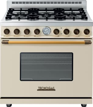 Tecnogas Superiore Deco Series RD361GCCB - Cream Gas Range with Bronze Accents
