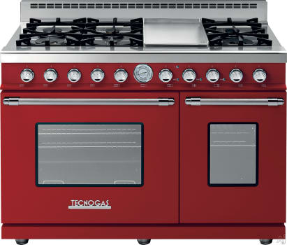 Tecnogas Superiore Deco Series RD482GCRC - Red Range with Chrome Accents
