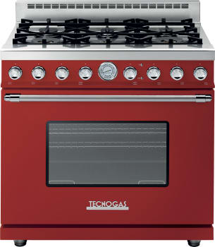 Tecnogas Superiore Deco Series RD361GCRC - Red Gas Range with Chrome Accents