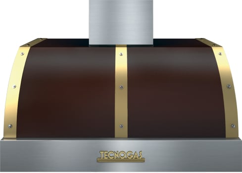 Tecnogas Superiore Deco Series HD361BTMG - Tecnogas Brown Wall/Under-Cabinet Mount Hood with Gold Accents