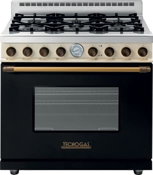 Tecnogas Superiore Deco Series RD361G - Black Gas Range with Brass Accents and Cream Control Panel