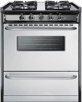 "Summit Professional Series TTM21027BRSW - 30"" Gas Range with 4 Sealed Burners and 3.7 cu. ft. Capacity"