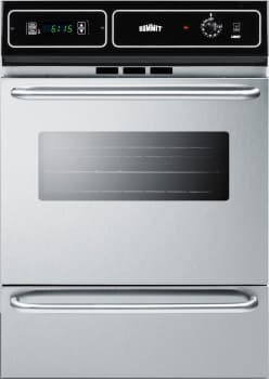 "Summit TTM7212BKW - 24"" Single Gas Oven with Lower Broiler Compartment in Stainless Steel"