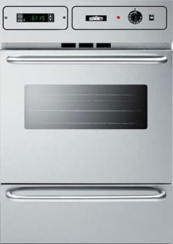 "Summit TM7212 - 24"" Single Gas Oven with Lower Broiler Compartment in Stainless Steel with Stainless Steel Control Board"