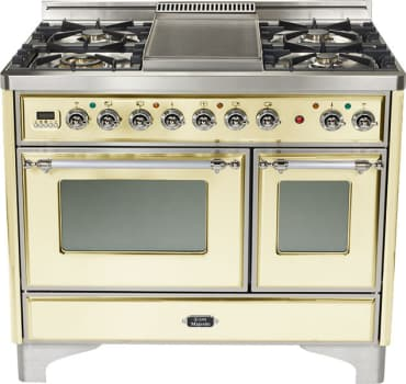 "Ilve Majestic Collection UMD100SDMP - Ilve 40"" Dual-Oven Range with 4 Sealed Burners and French Cooktop (Antique White) (Alternate griddle cooktop pictured here - selected model does not feature griddle)"