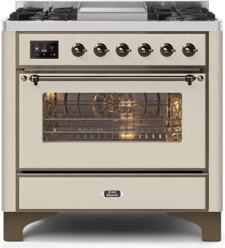 Ilve Majestic II Collection UM09FDNS3AWB - 36 Inch Antique White Natural Gas Freestanding Range
