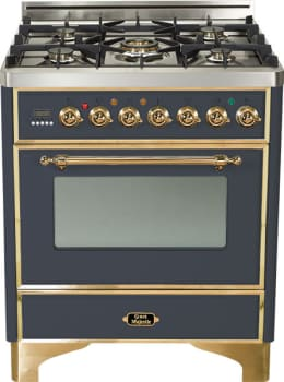 Ilve Majestic Collection UM76DMPM - Matte Graphite, Brass Trim