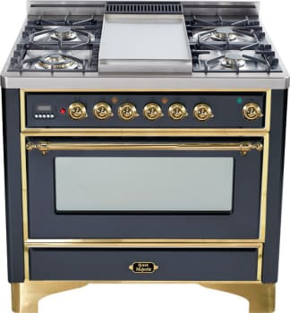 Ilve Majestic Collection UM906DMPM - Matte Graphite, Brass Trim