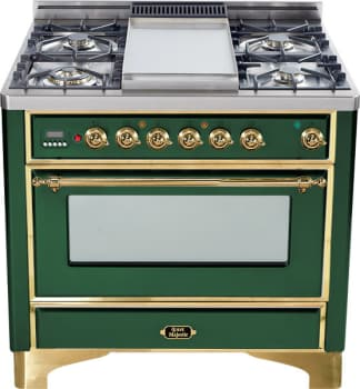 Ilve Majestic Collection UM906DMPVS - Emerald Green with Brass Trim