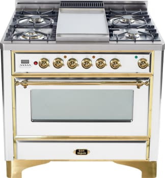 Ilve Majestic Collection UM90FDMPB - True White with Brass Trim