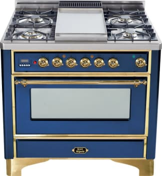 Ilve Majestic Collection UM90FDMPBL - Midnight Blue with Brass Trim
