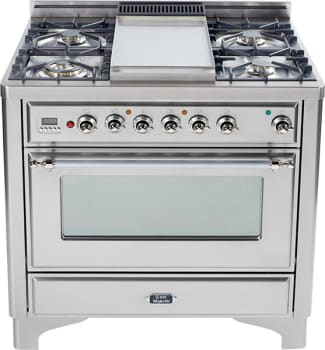 Ilve Majestic Collection UM90FDMPIX - Stainless Steel with Chrome Trim