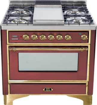 Ilve Majestic Collection UM90FDMPRB - Burgundy with Brass Trim