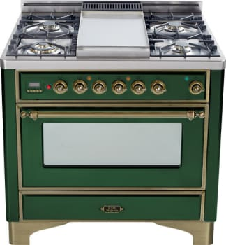 Ilve Majestic Collection UM90FDMPVSY - Emerald Green with Oil Rubbed Bronze Trim