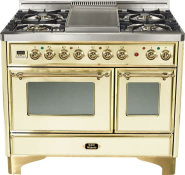 Ilve Majestic Collection UMD100SDMPA - Antique White, Brass Trim (Alternate Cooktop Model Pictured Here - Griddle Not Included)