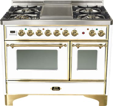Ilve Majestic Collection UMD100SDMPB - True White, Brass Trim (Alternate Cooktop Model Pictured Here - Griddle Not Included)