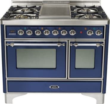 Ilve Majestic Collection UMD100SDMPBL - Midnight Blue, Brass Trim (Alternate Cooktop Model Pictured Here - Griddle Not Included)