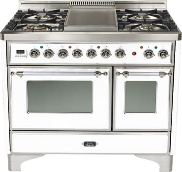 Ilve Majestic Collection UMD100SDMPBX - True White, Chrome Trim (Alternate Cooktop Model Pictured Here - Griddle Not Included)