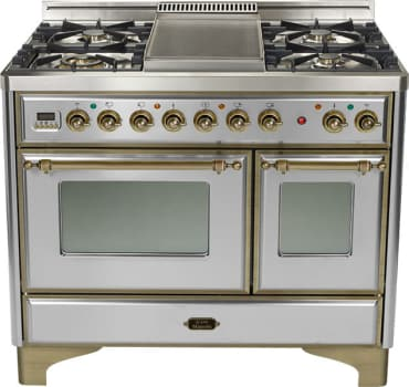 Ilve Majestic Collection UMD100SDMPIY - Stainless Steel with Oil Rubbed Bronze Trim (Alternate Cooktop Model Pictured Here - Griddle Not Included)