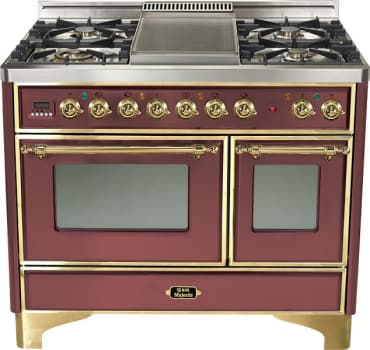 Ilve Majestic Collection UMD100SDMPRB - Burgundy, Brass Trim (Alternate Cooktop Model Pictured Here - Griddle Not Included)