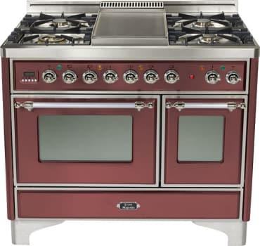 Ilve Majestic Collection UMD100SDMPRBX - Burgundy, Chrome Trim (Alternate Cooktop Model Pictured Here - Griddle Not Included)