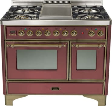 Ilve Majestic Collection UMD100SDMPRBY - Burgundy, Oil Rubbed Bronze Trim (Alternate Cooktop Model Pictured Here - Griddle Not Included)