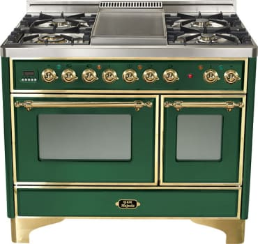 Ilve Majestic Collection UMD100SDMPVS - Emerald Green, Brass Trim (Alternate Cooktop Model Pictured Here - Griddle Not Included)