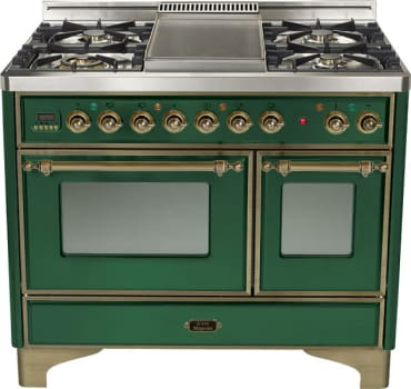 Ilve Majestic Collection UMD100SDMPVSY - Emerald Green, Oil Rubbed Bronze Trim (Alternate Cooktop Model Pictured Here - Griddle Not Included)