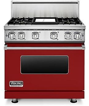 Viking Professional 7 Series VGR73614GAR - 36 Inch Viking Professional 7 Series Gas Apple Red Range and ViChrome Griddle shown with 10 Inch High Stainless Steel Backguard