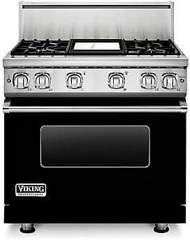 Viking Professional 7 Series VGR73614GBK - 36 Inch Viking Professional 7 Series Gas Black Range and ViChrome Griddle shown with 10 Inch High Stainless Steel Backguard