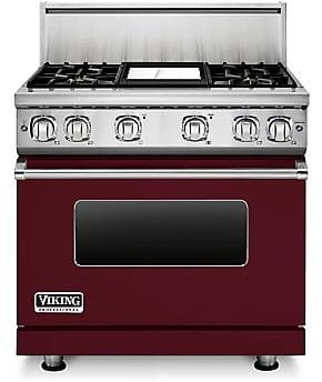Viking Professional 7 Series VGR73614GBULP - 36 Inch Viking Professional 7 Series Gas Burgundy Range and ViChrome Griddle shown with 10 Inch High Stainless Steel Backguard