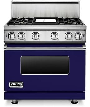Viking Professional 7 Series VGR73614GCBLP - 36 Inch Viking Professional 7 Series Gas Cobalt Blue Range and ViChrome Griddle shown with 10 Inch High Stainless Steel Backguard