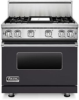 Viking Professional 7 Series VGR73614GGGLP - 36 Inch Viking Professional 7 Series Gas Graphite Grey Range and ViChrome Griddle shown with 10 Inch High Stainless Steel Backguard