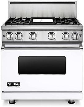 Viking Professional 7 Series VGR73614GWH - 36 Inch Viking Professional 7 Series Gas White Range and ViChrome Griddle shown with 10 Inch High Stainless Steel Backguard