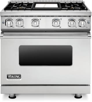 Viking Professional 7 Series VGR73614GSSLP - 36 Inch Viking Professional 7 Series Gas Range and ViCrhome Griddle shown with Countertop Rear Trim