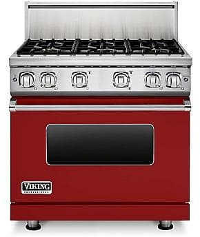 Viking Professional 7 Series VGR73616BAR - 36 Inch Viking Professional 7 Series Gas Apple Red Range shown with 10 Inch High Stainless Steel Backguard
