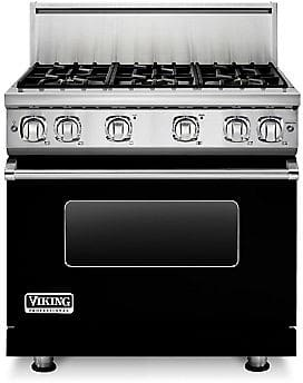 Viking Professional 7 Series VGR73616BBK - 36 Inch Viking Professional 7 Series Gas Black Range shown with 10 Inch High Stainless Steel Backguard