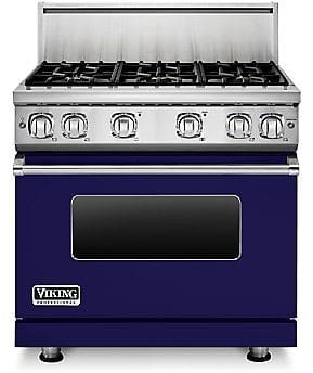 Viking Professional 7 Series VGR73616BCB - 36 Inch Viking Professional 7 Series Gas Cobalt Blue Range shown with 10 Inch High Stainless Steel Backguard