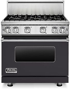 Viking Professional 7 Series VGR73616BGG - 36 Inch Viking Professional 7 Series Gas Graphite Grey Range shown with 10 Inch High Stainless Steel Backguard