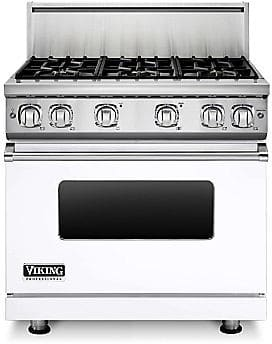 Viking Professional 7 Series VGR73616BWH - 36 Inch Viking Professional 7 Series Gas White Range shown with 10 Inch High Stainless Steel Backguard